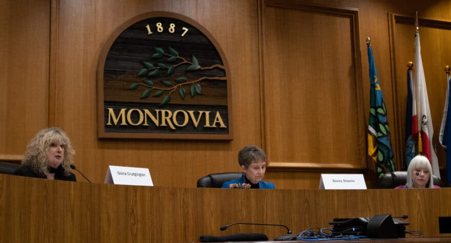 (Left to right) Gloria Crudgington, Becky Shevlin and Donna Baker field questions from residents at the Monrovia City Council candidates forum on Thursday, Feb. 13.